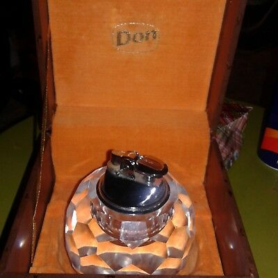 Vintage Crystal Glass Gas Table Lighter In Box
