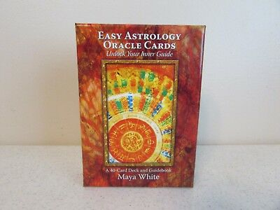 Easy Astrology Oracle Cards 40 Card Deck and Guidebook Maya White Tarot Readings