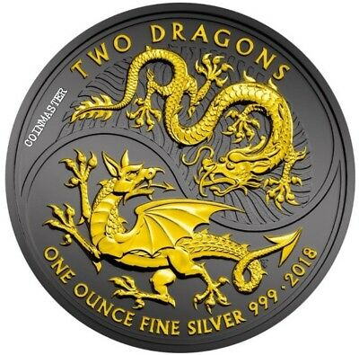 United Kingdom 2018 £2 TWO DRAGONS Ruthenium 1 Oz Silver Coin, 24Kt Gold Gilded.