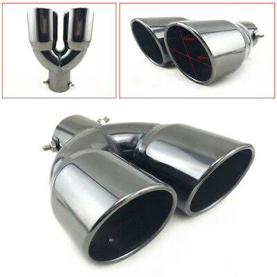 """MEGAN UNIVERSAL DUAL STAINLESS TWIN 3/"""" BLACK CHROME TIPS 2.5/"""" INLET QUAD EXIT"""