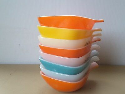 8 RETRO vintage harlequin ramekin bowl set CROWN PYREX glass