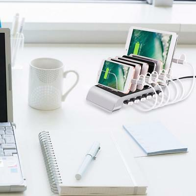 6 Ports USB Charging Station Dock Cradle with Stand Holder for Mobile Phone EU