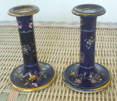 "Pair of Cobalt and Gold Decorated Masons Patent 5-1/4"" Ironstone Candlesticks"