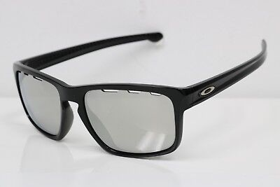 Oakley Sliver Vented Sunglasses OO9269-1257 Polished Black | Chrome Iridium (A)