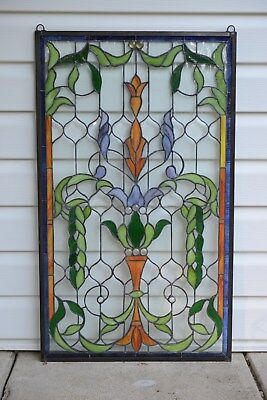 """Handcrafted Jeweled stained glass window panel. 20.5""""W x 34.5""""H"""