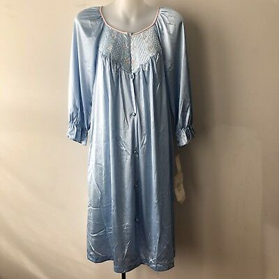 Vanity Fair Size Small Vintage Nightie Night Gown Satin Tricot Sky Blue Granny