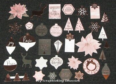 Kaisercraft 'SPARKLE' Collectables Die Cut Shapes Christmas/Rose Gold KAISER