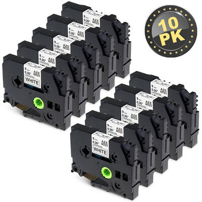 10PK TZe-221 Compatible for Brother P-Touch Laminated Label Tape Black/White 9mm