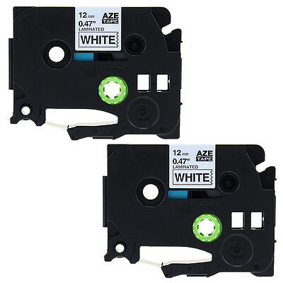 2PK Compatible for Brother TZ-231 Black on White P-Touch Label Tape 12MM TZe231
