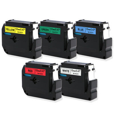 "5PK Compatible Brother Label Tape 1/2"" MK231 431 531 631 731 P Touch LabelMaker"