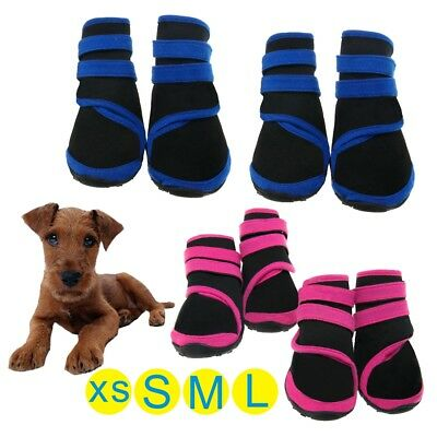 4PCS Anti Slip Protective Rain Boots Pet Dog Waterproof Shoes Black S/M/L