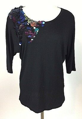 be87e725562 Forever 21 Womens Shirt Sz Petite Small Scoop Neck Blouse Sequined Stretch  Top