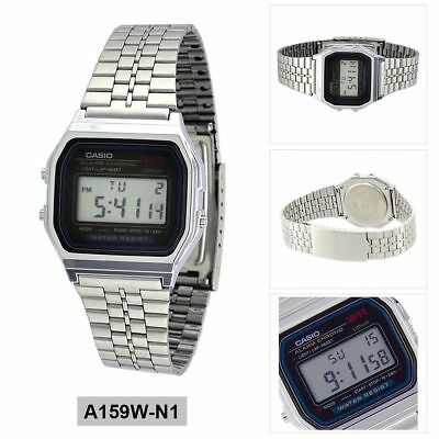 Casio Vintage A158W Retro Silver Stainless Steel Digital Unisex Watch Large Smal