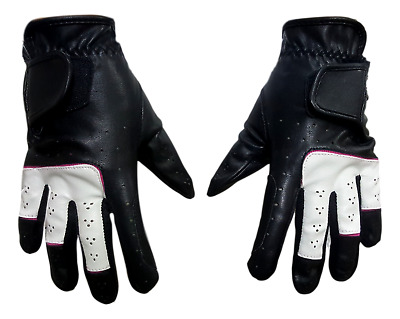 Black and White with Pink Lining Horse Riding Gloves -
