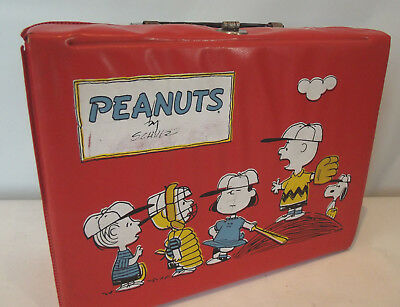 Vintage Peanuts Red Vinyl Lunch Box 1965