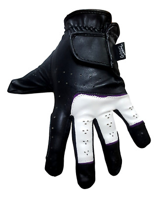 Black and White with Purple Lining Horse Riding Gloves -