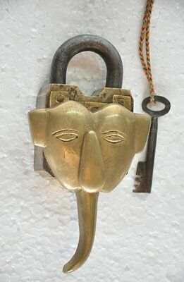 Old Brass Unique Lord Ganesha Face Handcrafted Solid Heavy Padlock , Rich Patina