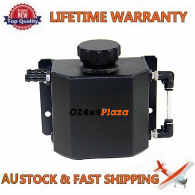 Universal 1L Aluminum Coolant Radiator Overflow Recovery Water Tank Black