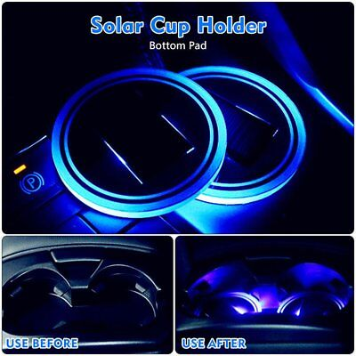 2X Solar Cup Holder Bottom Pad BLUE LED Light Cover Trim Atmosphere Lamp 72mm UK