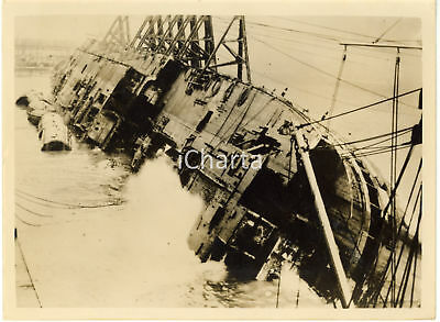 1954 LIVERPOOL Gladstone Dock - Shipwreck of liner EMPRESS OF CANADA hauled out