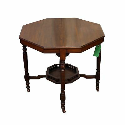Victorian Antique Mahogany Centre Table with Undertier Shelf and Castor Wheels