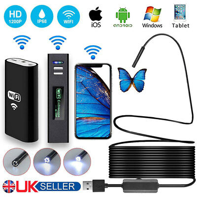 Wifi Endoscope Wireless Borescope Inspection Camera 8LED IP68 For iPhone Android