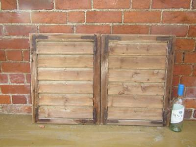 VINTAGE WOODEN SHUTTERS WINDOW  91x60  ANTIQUE FRENCH  RECLAIMED   FREE post