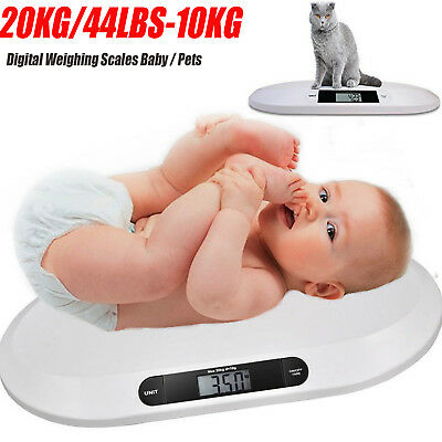 Puppies or Other Small Pets Cats Weighs in Pounds and Kilograms Up to 44lbs//20kg White Blue Perfect for Infants 2 AAA Batteries Included Digital Baby Weight Scale