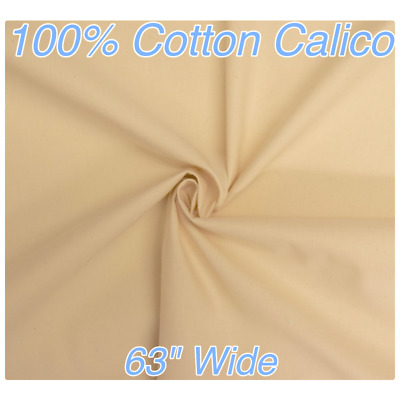 """Medium Weight CALICO 100% Cotton Natural 63""""/160cm Wide Loomstate"""