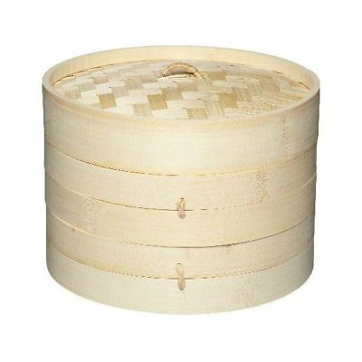 2 Tier Bamboo Steamer - For Oriental Foods - Vegetables Rice & Dim Sum Pack of 2