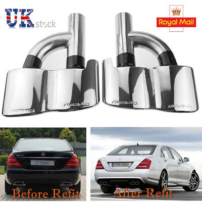 2pc/set Exhaust Muffler Tips For Benz Mercedes W221 S550 S500 AMG S Class UK