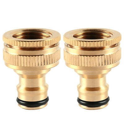 """2pc 1/2 3/4"""" Brass Hose Pipe Tap Connector Threaded Garden Water Adaptor Fitting"""