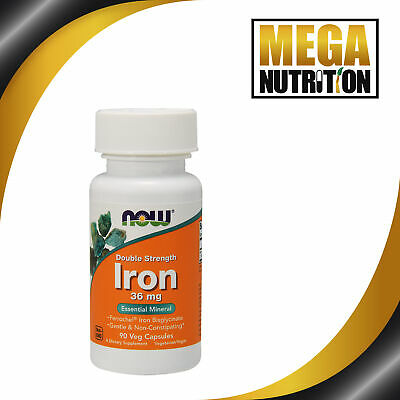 NOW Food Iron Double Strength 36mg 90 Veg Capsules | Pregnancy Anaemic Tiredness