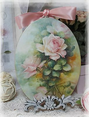 """~ Pink Roses"""" Vintage ~ Shabby Chic Country ~ Cottage style ~ Wall Decor Sign ~"""