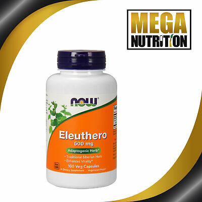 NOW Foods Eleuthero 500mg 100 Veg Capsules | Traditional Siberian Ginseng Herb