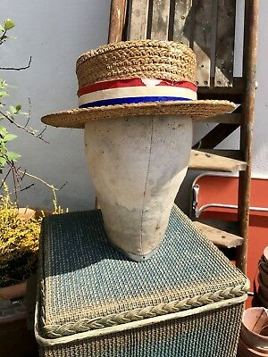 Vintage 50's 60's 'The York Hat' Flat Brimmed Woven Straw Hat