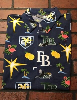 Tampa Bay Devil Rays 20th Anniversary All Over Print Button Up Shirt Men's M