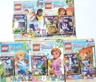 5 x LEGO FRIENDS MAGAZINES ~ ALL NEW WITH FREE GIFTS ~