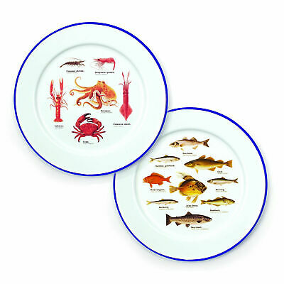 Ecologie Sea Life Set Of 2 Enamel Plates Dinner Serving Camping Crab Clam Salmon