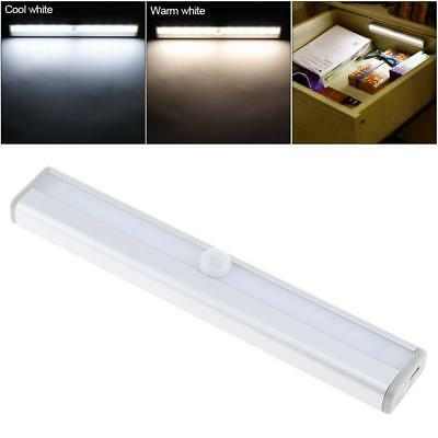 LED PIR Sensor Strip Motion Bed Light White USB Rechargeable Wall Night Lamp