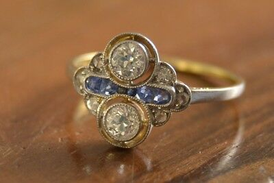 Antique Two Stone Vintage Art Deco Off White Round Moissanite 14K Gold Over Ring