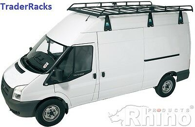 Ford Transit Roof Rack +Roller (2000-2014 LWB High Roof) Rhino Steel Roof Racks