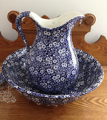 Royal Crownford Staffordshire BLUE CALICO PITCHER AND BOWL VG - LOCAL PICKUP