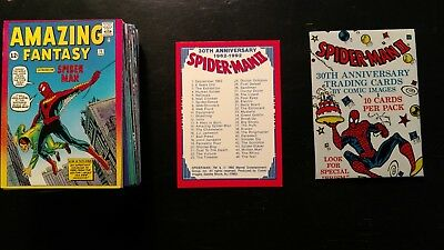 1992 Spiderman Ii 30Th Anniversary Trading Card Complete Set 1-90