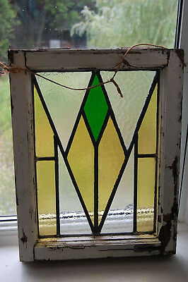 "Vintage old ENGLISH STAINED GLASS Leaded Original Frame Geometric 19"" x 14"""