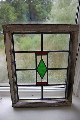 "Vintage old ENGLISH STAINED GLASS Leaded Original Frame Geometric 21"" x 17"""
