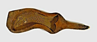 Antique Cookie Mold Oriental Hand Carved Wooden Fish