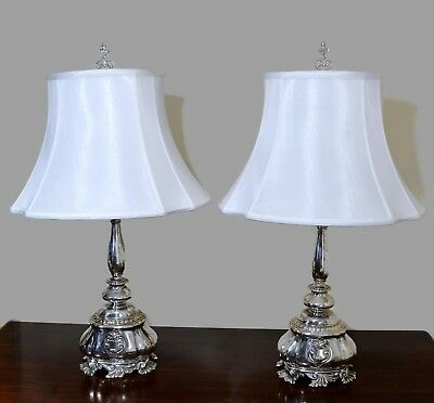 "French Lamps Late 19th Century Pair of Silver Plate Converted Candlestick 29"" H"