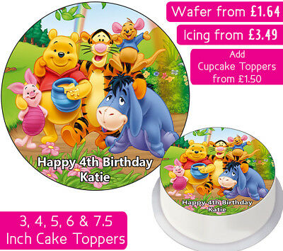 Winnie The Pooh Edible Wafer Icing Personalised Cake Toppers