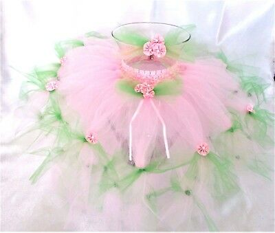 SPRING HAS SPRUNG TUTU PINK/GREEN-HEADBAND-BABY,TODDLER,GIRL-18 mos.-3T-HANDMADE